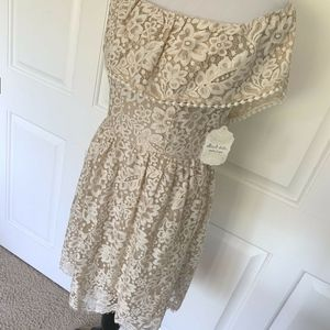 Altar'd State Dresses - NWT LACE SHORT SLEEVE MINI DRESS OFF SHOULDER